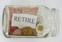 Retirment. The word retire is shown in a mason jar with Canadian coins and a fifty dollar bill Royalty Free Stock Photo