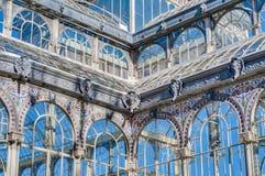 Retiro公园的水晶宫在马德里,西班牙 免版税库存图片