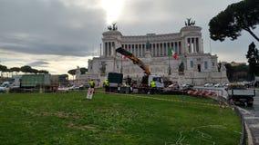 Retiro del árbol de navidad Spelacchio de la plaza Venezia, Ro Imágenes de archivo libres de regalías