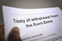 Retiro del tratado de la zona euro Imagenes de archivo