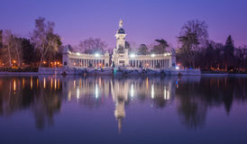 Retiro, Madrid, Spain. Night cityscape with lights at Retiro, Madrid, Spain Stock Photo