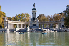 Retiro Park in Madrid. Momument to Alfonso XII in Retiro Park in Madrid royalty free stock images
