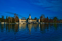 Retiro Park - monument Madrid, Spain. Retiro Park with the Alfonso  XII King Monument and the lake in Madrid, Spain Stock Photo