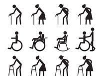 Retiro, personas mayores y paciente, sistema del icono del lisiado Fotos de archivo