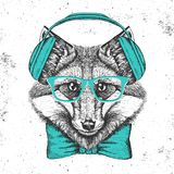 Hipster animal fox. Hand drawing Muzzle of animal  fox Stock Photography