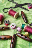 Reto sewing kit. Royalty Free Stock Photography