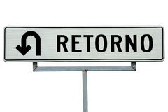 Retorno U-turn sign Stock Photo