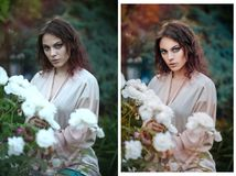 Before and after retouch beauty concept. royalty free stock image