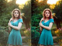 Before and after retouch beauty concept. stock image