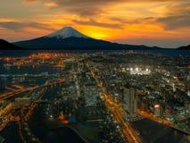 Retouch photo of Yokohama city. And Mt. Fuji Royalty Free Stock Photography