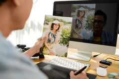 Retoucher at work Royalty Free Stock Images