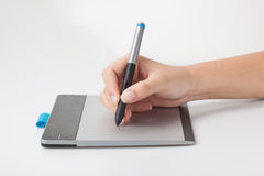 Retoucher working with interactive pen display Stock Images