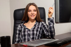 Retoucher works in the office Stock Images