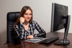 Retoucher works in the office Stock Image