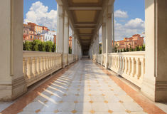 Retouching of perspective walking way of old and ancient buildin Stock Photography