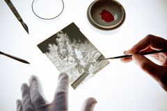 Retouching a sheet film negative. Picture processing, image editing, craft Royalty Free Stock Photography