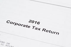 Retour d'impôt sur les sociétés photographie stock