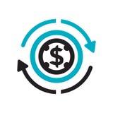 Retour du signe et du symbole de vecteur d'icône d'investissement d'isolement sur le fond blanc, retour de concept de logo d'inve illustration stock