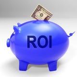 Retour et revenu de ROI Piggy Bank Means Investors Photographie stock libre de droits