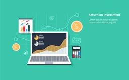 Retour sur l'investissement, ROI, affaires, bénéfice, illustration conceptuelle de bannière de vecteur plat avec des icônes illustration stock