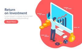 Retour sur l'investissement (ROI), homme d'affaires maintenant le ch financier illustration stock