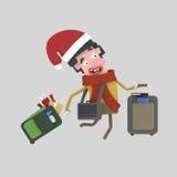 Retours au pays de Noël Jeune garçon avec des valises 3d illustration stock