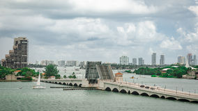 Retractable Bridge and skyline of Miami South Beach Royalty Free Stock Image