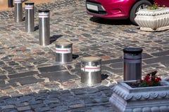 Retractable Electric Bollard Metallic. Stock Images