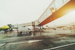 Retractable ladder in Domodedovo airport Stock Photo