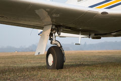 Retractable landing gear of single-engine aircraft Stock Image