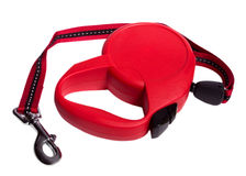 Retractable leash for dog. Isolated on white background Royalty Free Stock Photos
