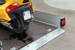 Retractable trailers for the transport of vehicles Royalty Free Stock Photography