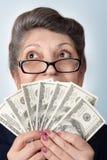 Retraité avec l'argent Photo stock
