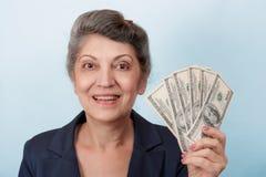 Retraité avec l'argent Photographie stock libre de droits
