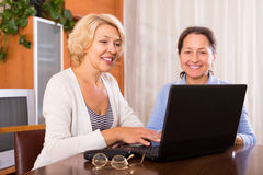 Retraités féminins avec l'ordinateur portable d'intérieur Photographie stock libre de droits