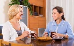 Retraités féminins buvant du thé Photo stock