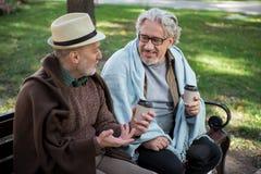 Retraités mûrs heureux ayant la conversation intéressante extérieure Photographie stock libre de droits