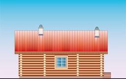 Retrait détaillé de façade en bois de construction de sauna Photo stock