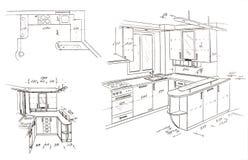 Retrait de dessin à main levée moderne de conception intérieure. illustration stock
