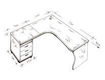 Retrait de dessin à main levée moderne de conception intérieure. Images stock
