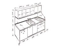 Retrait de dessin à main levée moderne de cuisine de conception intérieure. illustration libre de droits