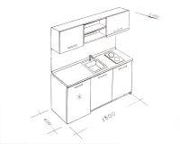 Retrait de dessin à main levée moderne de cuisine de conception intérieure. illustration de vecteur