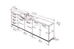 Retrait de dessin à main levée moderne de salle de bains de conception intérieure. illustration stock