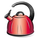 Retrait de la bouilloire rouge de théière Photographie stock