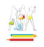 Retrait et crayons illustration libre de droits