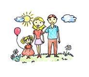 Retrait heureux de famille Photo libre de droits