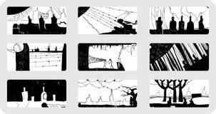 Retraits abstraits, encre, clavette Photos libres de droits
