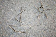 Retraits simples sur le sable Photos stock