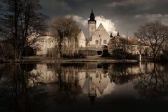 Retranchez-vous dans Telc, Bohême du sud, République Tchèque Photographie stock
