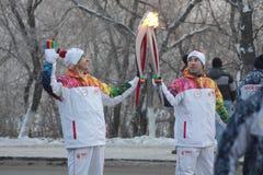 Retransmisión de antorcha olímpica Imagen de archivo libre de regalías